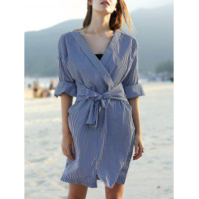 Stylish V Neck Long Sleeve Striped Belted Women's Dress