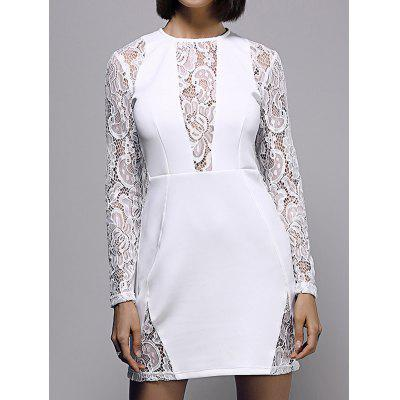 Stylish Round Neck Long Sleeve White Lace Spliced Women's Dress