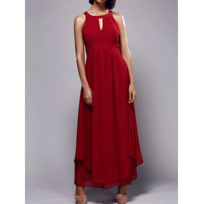 Stylish Keyhole Neckline Sleeveless Red Pleated Women's Maxi Dress