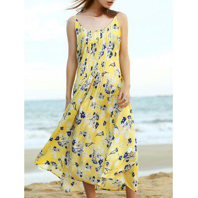Trendy Pleated Women's Midi Strap Dress