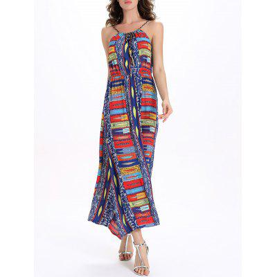 Printed Elastic Waisted Long Cami Dress