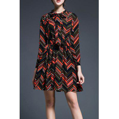 Wavy Stripe Print Bowknot Dress