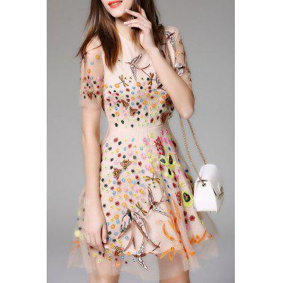 Embroidered Mesh Sheer Flare Dress