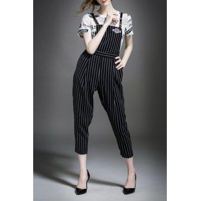 Letter Print T-Shirt and Stripe Overalls Jumpsuit