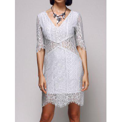 Alluring Deep V Neck Women's Bodycon Lace Dress
