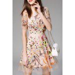 Malha Bordada Sheer Flare Dress - DAMASCO