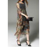 Printed Slit Cardigan and Tank Dress and Tank Top - COLORMIX