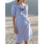Casual Embroidered Striped Women's Midi Dress