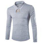 Trendy Slimming Turndown Collar Solid Color Button Design Long Sleeve Polyester T-Shirt For Men - LIGHT GRAY