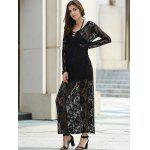 Elegant Plunging Neckline Long Sleeve Dress For Women photo