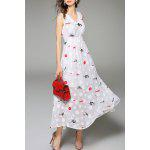 V Neck Polka Dot Print Embroidered Dress deal