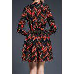 cheap Wavy Stripe Print Bowknot Dress
