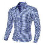 Casual Turn-Down Collar Slimming Long Sleeve Checked Shirt For Men - BLUE