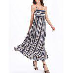 cheap Bohemian Backless Stripe  Lace-Up Dress