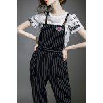 Letter Print T-Shirt and Striped Overalls Jumpsuit for sale