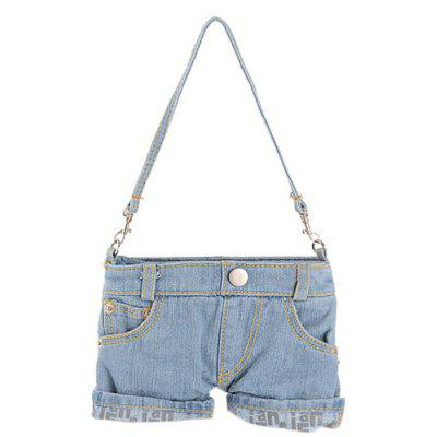 Stylish Short Jeans Shape and Stitching Design Shoulder Bag For Women