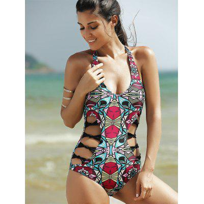 Cut Out Print Halter One Piece SwimsuitWomens Swimwear<br>Cut Out Print Halter One Piece Swimsuit<br><br>Bra Style: One-piece<br>Elasticity: Elastic<br>Embellishment: Hollow Out<br>Gender: For Women<br>Material: Polyester<br>Neckline: Halter<br>Package Contents: 1 x Swimsuit<br>Pattern Type: Print<br>Support Type: Wire Free<br>Swimwear Type: One Piece<br>Waist: Natural<br>Weight: 0.175kg