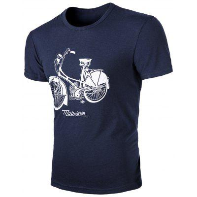 Round Neck Bike Print Short Sleeves T-Shirt For Men