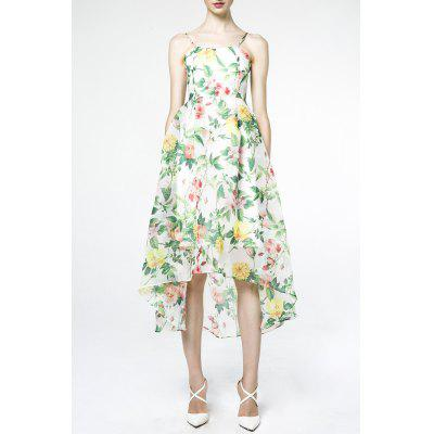 Spaghetti Strap Floral Print Asymmetric Dress