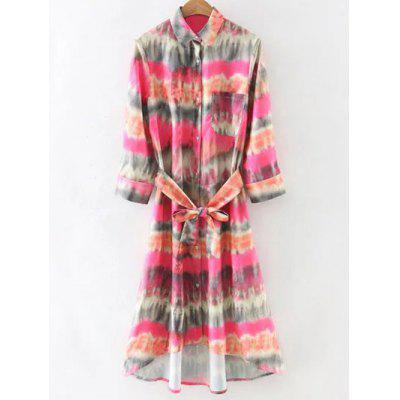 Stylish Tie-Dyed Shirt Dress With Belt For Women