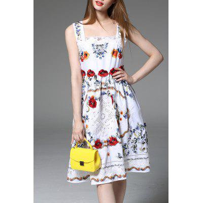 Lace Spliced Flower Print Embroidery Tank Dress