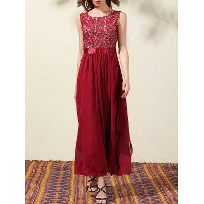 Buy WINE RED Trendy Lace Bodice Maxi Women's Prom Dress for $27.13 in GearBest store