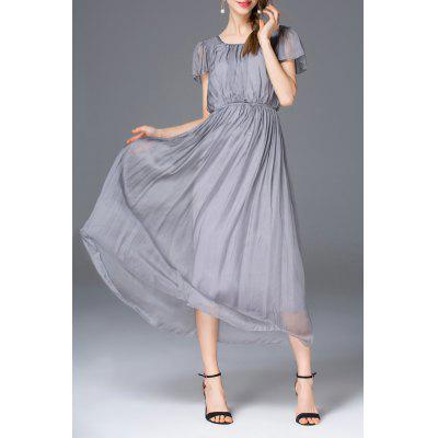 Elastic Waist Pure Color Dress