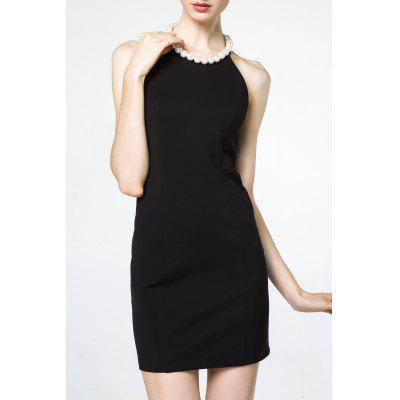 Jewel Neck Backless Mini Dress