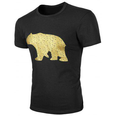 Buy BLACK Round Neck Animal Print Short Sleeves T-Shirt For Men for $11.17 in GearBest store
