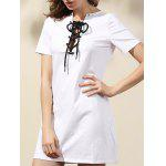 Casual Lace-Up Solid Color A-Line Dress For Women - WHITE