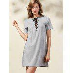 Casual Lace-Up Solid Color A-Line Dress For Women - GRAY