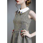 Waisted Corset Gold Thread Dress - GRAY