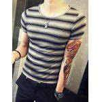 cheap Round Neck Color Block Striped Print Short Sleeve T-Shirt For Men