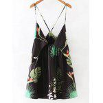 Alluring Printed Low Cut Women's Cami Dress - BLACK