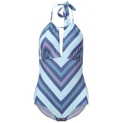 Sexy Halter Backless Cut Out Chevron One-Piece Swimwear For Women