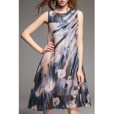 Applique Sleevless Print Dress