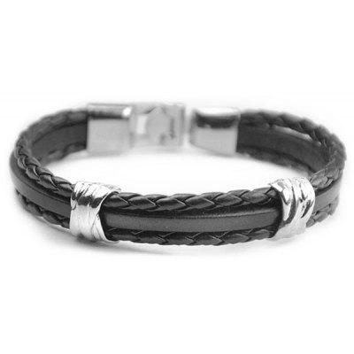 Stylish Multilayer Knitted PU Leather Chain Strand Bracelet For Men