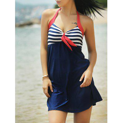 Halter One-Piece Striped Multi Convertible Way Swimwear