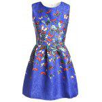 Sweet Round Neck Sleeveless Butterfly Print Dress For Women - BLUE