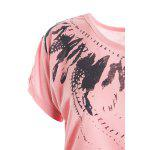 best Fashion Scoop Neck Short Sleeves Feather Print Cotton Blend Women's Spring T-Shirt