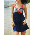 Halter Sailor Swimdress Stripe Tankini Top Bathing Suit