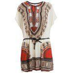 Retro Style V-Neck Ethnic Pattern Batwing Dress For Women - JACINTH