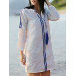 Casual Embroidered White Women's Shift Dress - WHITE