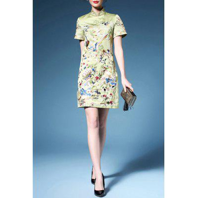 Bird Embroidered Cheongsam Dress