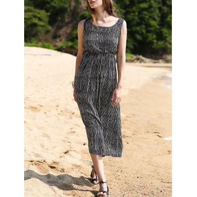 Trendy Sleeveless Striped Waisted Women's Dress
