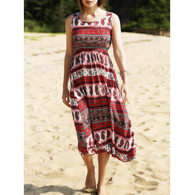 Ethnic Print Waisted Long Dress For Women