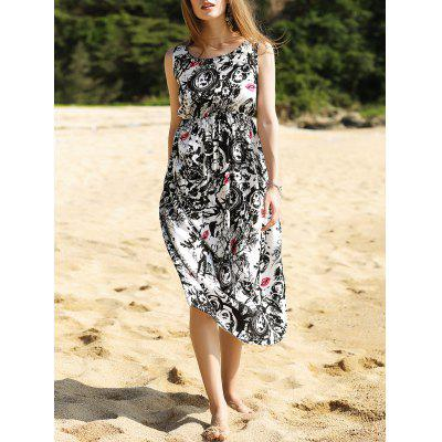 Elegant Black and White Long Dress For Women