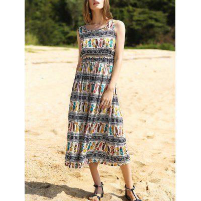 Elegant Colorful Animal Print Long Dress For Women