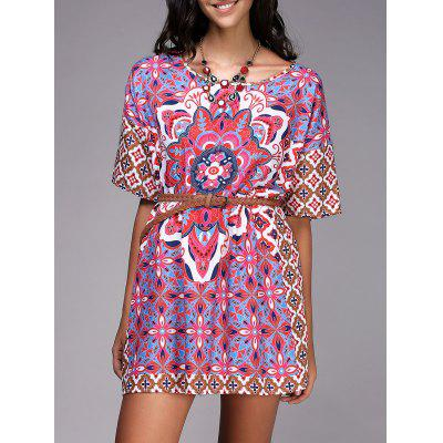 Chic Round Neck Ethnic Style Pattern Print Color  Short Sleeve Dress For Women