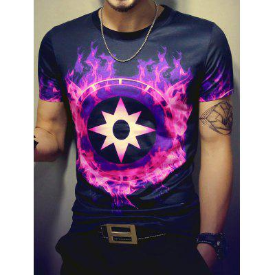 3D Fire and Geometric Print Round Neck Short Sleeve T-Shirt For Men